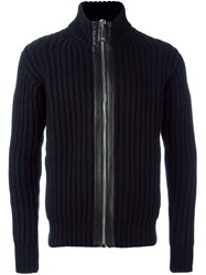 Les Hommes Zip Through Ribbed Cardigan Black