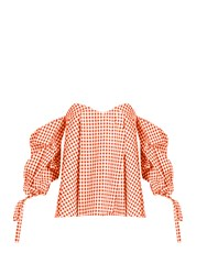 Caroline Constas Gabriella Off The Shoulder Gingham Top Coral