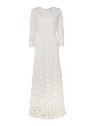 Ivy And Oak Longsleeve Dress With Crochet Neck Line White