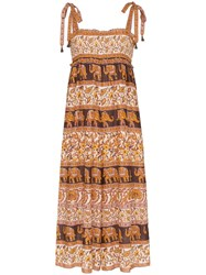 Zimmermann Elephant Paisley Smocked Jumpsuit Brown
