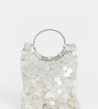 Accessorize Embellished Mermaid Sequin Clutch Bag With Ring Handle Detail Multi