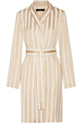 The Row Stervis Belted Striped Jacquard Coat Gold