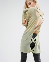 Story Of Lola Oversized Top With Cross Back Olive Green