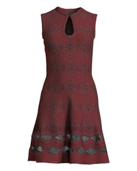 Alaia Sleeveless Shimmered Floral Knit Keyhole Dress Burgundy