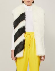 Off White C O Virgil Abloh Striped Faux Fur Gilet White