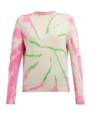 The Elder Statesman Cyclone Tie Dyed Cashmere Sweater Pink Multi