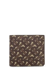 Burberry Tb Coated Print Cc Billfold Coin Wallet Bridle Brown