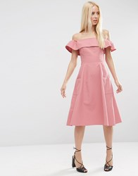 Asos Off Shoulder Sundress In Natural Fibre Dusty Rose Pink