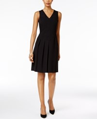 Kasper Pleated Fit And Flare Dress Black