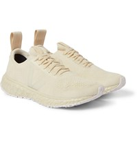 Rick Owens Veja Rubber Trimmed Stretch Knit Sneakers Neutrals