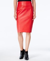 Bar Iii Faux Leather Pencil Skirt Only At Macy's Chili Red