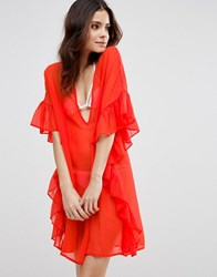 Asos Beach Cover Up With Frill Red