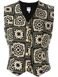 Moschino Vintage Patterned Waistcoat Black