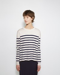 Organic By John Patrick Striped Cashmere Blend Pullover Natural And Navy