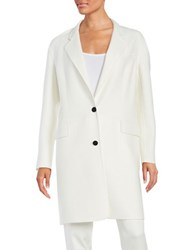 Dkny Solid Cotton Blend Coat White