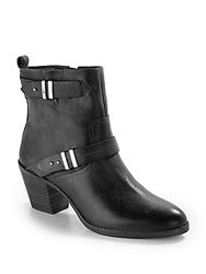 Saks Fifth Avenue Gray Nobu Buckle Leather Ankle Boots Black