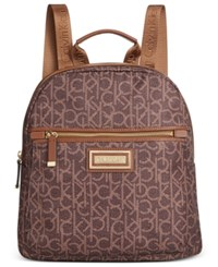 Calvin Klein Dressy Nylon Backpack Brown Khaki Photo Print
