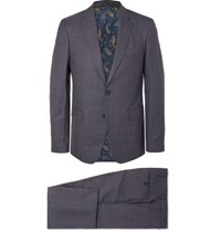 Etro Blue Slim Fit Prince Of Wales Checked Wool Suit