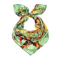 Unpaired Window Earthy Green Silk Square Scarf