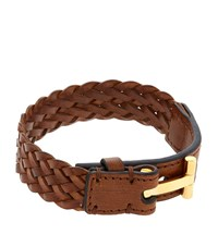 Tom Ford Woven T Leather Bracelet Unisex Brown