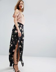 Asos Maxi Skirt In Floral Print With Splices Black