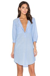 Velvet By Graham And Spencer Doma Cotton Chambray Shift Dress Blue