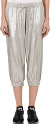 Y 3 Metallic Cropped Track Pants Silver Size M