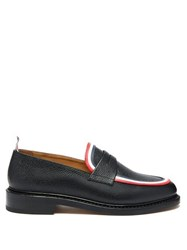 Thom Browne Tricolour Striped Pebbled Leather Penny Loafers Black