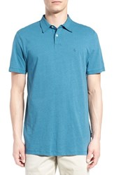 Men's Volcom 'Wowzer' Slim Fit Jersey Polo Blue