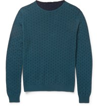 Incotex Slim Fit Reversible Polka Dot Cotton Sweater Blue
