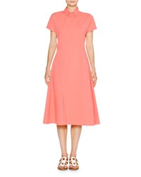 Tomas Maier Sporty Poplin Shirtdress Coral