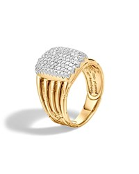 John Hardy Bamboo 18K Yellow Gold Diamond Pave Five Row Ring White Gold