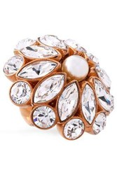 Stella Mccartney Gold Tone Crystal And Faux Pearl Ring Bronze