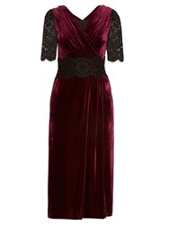 Dolce And Gabbana Lace Velvet Midi Dress Burgundy