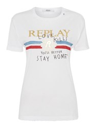 Replay Printed Cotton Jersey T Shirt White
