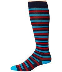 Zensah Even Stripes Compression Socks Navy Red Crew Cut Socks Shoes Multi