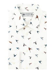 Turner And Sanderson Men's Fawley Bird Print Shirt White