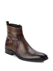 Jo Ghost Buckle Accented Leather Boots Brown Red