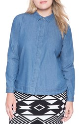 Plus Size Women's Eloquii High Low Chambray Shirt