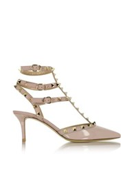 Valentino Rockstud Poudre Patent Leather Mid Heel Ankle Strap Pump Nude