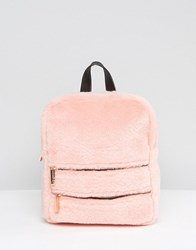 Skinnydip Blush Faux Fur Double Zip Backpack Pink