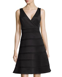 Neiman Marcus Mesh Inset Wrap Panel Dress Black