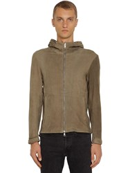 Giorgio Brato Hooded Leather Sweat Jacket Army Green