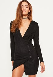 Missguided Black Faux Suede Wrap Bodycon Dress