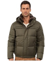 Marc New York Fauxmula Down Filled Bomber W Faux Fur Trimmed Collar And Removable Hood Olive Men's Coat