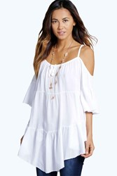 Boohoo Tiered Cold Shoulder Woven Top White