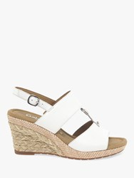 Gabor Keira Wide Fit Wedge Sandals White Leather