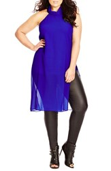 Plus Size Women's City Chic 'Sexy Sheer' Top Ultra Blue