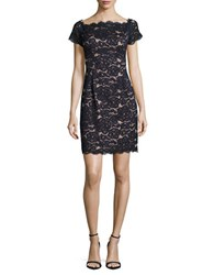 Adrianna Papell Cap Sleeve Lace Sheath Dress Midnight Pink