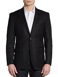 Saks Fifth Avenue Black Two Button Wool Classic Fit Blazer Black